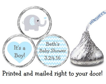 Baby Shower 324 Glossy Stickers for Candy Kiss® - Blue & Gray Grey Elephant with Chevron Ears labels Party Favors **Discounts Available