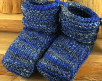 Rocky Cove Hand Spun/Hand Dyed/Knit Sheepskin Soled Booties 18-24 Months