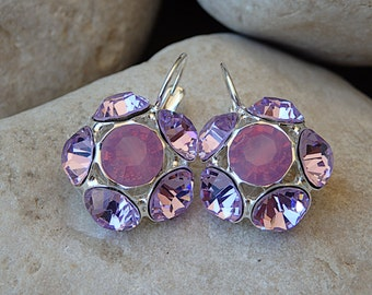 Soft purple Earrings, Silver Swarovski Crystal Earrings, Flower Earrings, Bloom Drop Earrings, Soft colors jewelry, Bridesmaid earrings gift