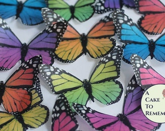 Edible butterflies, 12 wafer paper monarch butterflies for cake decorating and cupcake decorating. Butterflies for wedding cake toppers