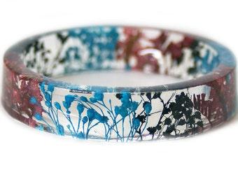 Bracelet - Jewelry with Real Flowers- Dried Flowers- Blue  Bracelet - Black Dried Flowers- Black Bracelet- Resin Jewelry