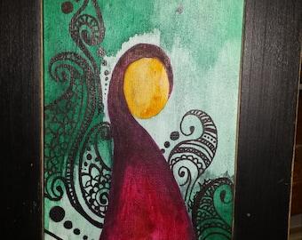 Feminine Painting Mixed Media (5x7 inch)
