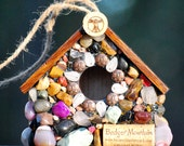 Outdoor Stone Bird House with Wine Corks for wrens sparrows rustic birdhouse mosaic garden unique gift nature lover bird watcher