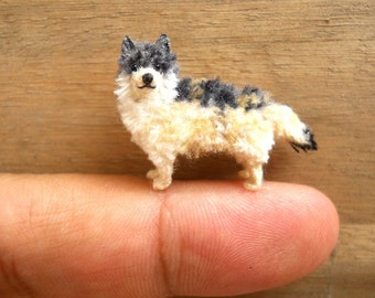 Miniature Crocheted Wolf  - Tiny Amigurumi Dog Stuffed Animal - Made To Order