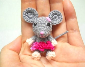 Crocheted Mouse Girl - Amigurumi Miniature Stuffed Animals - Made To Order