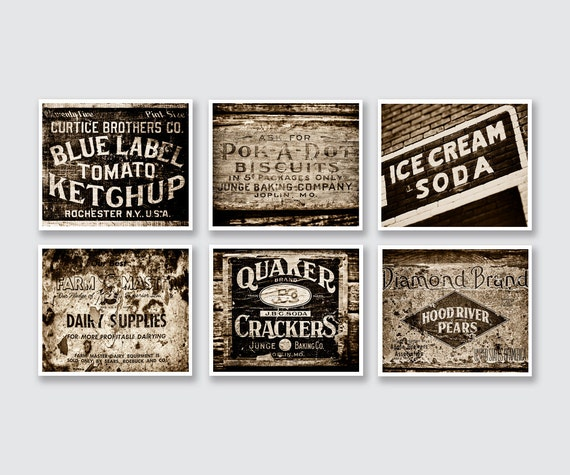 Rustic Brown Kitchen Decor Print Or Canvas Set Of 6 Sepia