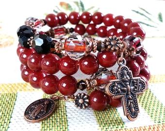 Rosary Bracelet Wrap,Red Opaque Glass Beads Wrist Rosary,Beaded Rosary Bangle,Religious Catholic Jewelry,Catholic Bracelet,OURLADYBeads,463