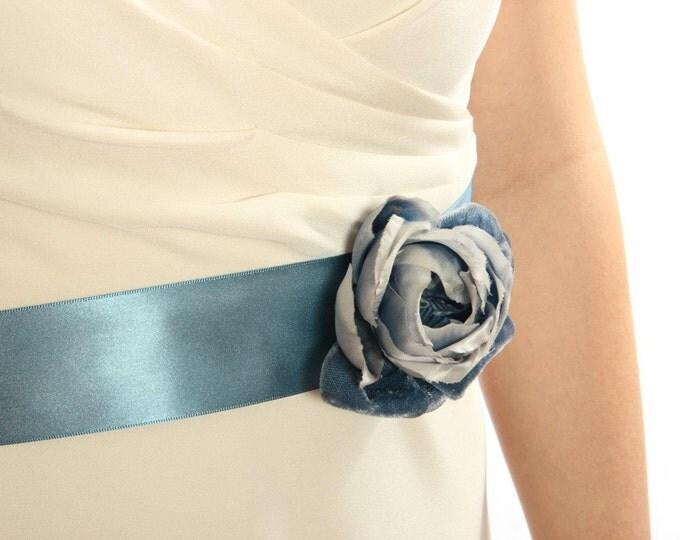 Teal Blue Belt w/Vintage Velvet Flower Handcrafted Wedding Dress Accessory Blue Turquoise Handcrafted Creative Sash Vintage 1000262
