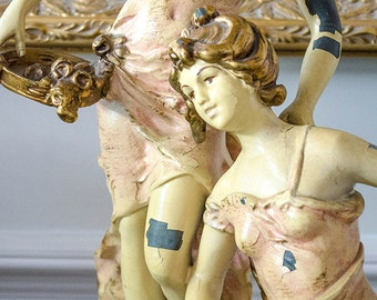 Antique French Statue, Musical Maidens, Painted Spelter, Signed Moreau, Large Size