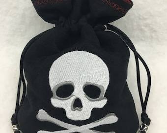PIRATE SKULL & CROSSBONES - Faux Suede Drawstring Pouch with Machine Embroidery for Dice, Runes, Tarot Cards