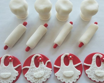 12 Fondant cupcake toppers--cooking party, chef's hat, rolling pin and aprons