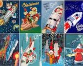 "Large Stickers (each sticker 2.5""x3.5"", pack 8 stickers) Scrapbooking Craft Vintage # Santa's Rocket FLONZ 222"