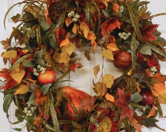Black Friday Wreath , Fall Wreath -  Thanksgiving Wreath - Fall Wreath For The Door - Autumn Wreath