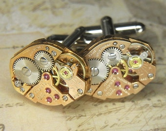 Steampunk Cufflinks Cuff Links - Torch Soldered - Rare Vintage ROSE GOLD BENRUS Watch Movements - Birthday Anniversary Gift - Exquisite Set