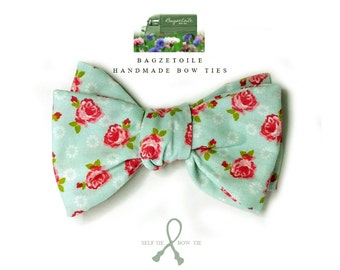 floral bow tie, mens, cotton, freestyle, self tie / adjustable, bow tie, handmade by Bagzetoile in France