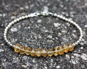 Citrine Bracelet - November Birthstone Bracelet - Sterling Silver Bracelet - Gemstone Bracelet - 13th Anniversary Gift - Layering Bracelet