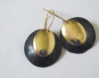 Gold and Black Metal 2 Piece Dangling Modern Earrings