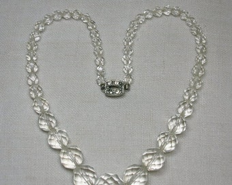 Graduated Bead Necklace, Faceted Clear Glass, Mid Century does Art Deco