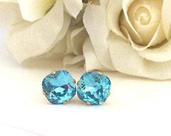 Gold Earrings Swarovski Crystal Earrings Turquoise Earrings Bridesmaids Gift Bridesmaid Earrings Crystal Stud best friend gift coworker gift