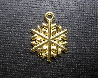 SALE - 10 Snowflake Charms in Gold Tone - C2426