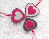 CUSTOM FELT HEART ornaments - set of 3 - handcrafted from 100% wool felt - Valentine's decorations