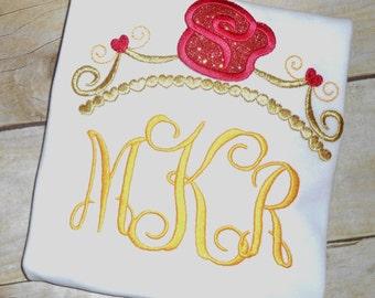 Embroidered Disney Princess Belle crown tiara monogrammed shirt
