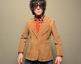 vintage 60s 70s suede blazer womens suede hippie jacket nubuck tan brown boho 1960s 1970s Argentina leather suede blazer large XL