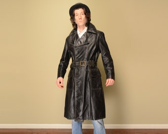 vintage 70s leather trench coat black leather double breast belt zip out lining medium M large L 1970 disco pimp jacket