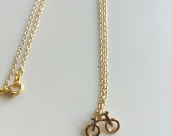 18k gold plated tiny bicycle bike charm necklace | minimalist | ride your heart out