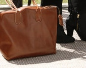Leather Tote, Brown Leather Tote, Travel Bag, Weekender, New Atlas Collection in Chestnut Italian Leather
