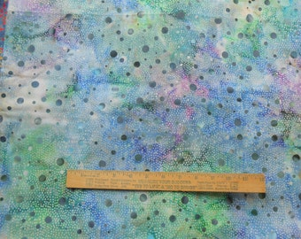 Marbled Dots Blue Green White Lavender 1 Yard Central Java Batik Quilting Cotton Fabric