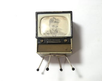 Westinghouse TV Television Advertising Betty Farness Miniature Planter or Pen Holder 50's