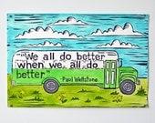 Wellstone Green Bus Hand-Painted Linocut Print