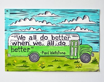 Wellstone Green Bus Hand-Painted Linocut Print