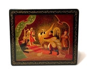 RESERVED For Ziemomyst Kholuy Холуй Lacquer Box The Little Humpbacked Horse FIREBIRD Hand painted