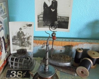 Upcycled, embellished oil can photo display/ memo holder/ place card holder