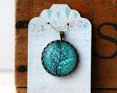 """Tree with Turquoise Background Vintage Inspired Brass and Glass Bubble Necklace (#24) - """"Rozie Series"""""""