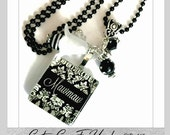 PERSONALIZED Grandma, Mother, Mawmaw, Or Name Black Damask  Glass Tile Pendant Necklace Or Keychain With Swaovski Birthstone Crystals