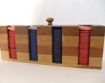 Vintage  Wooden Poker Chip Holder Cady