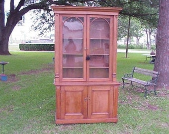 Large Antique Pine Cabinet Furniture English Tall China Display Country Glass Front Doors