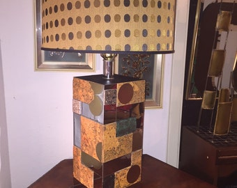 Vintage Patchwork Lamp and Shade Eames Era Paul Evans Style Mid-Century modern