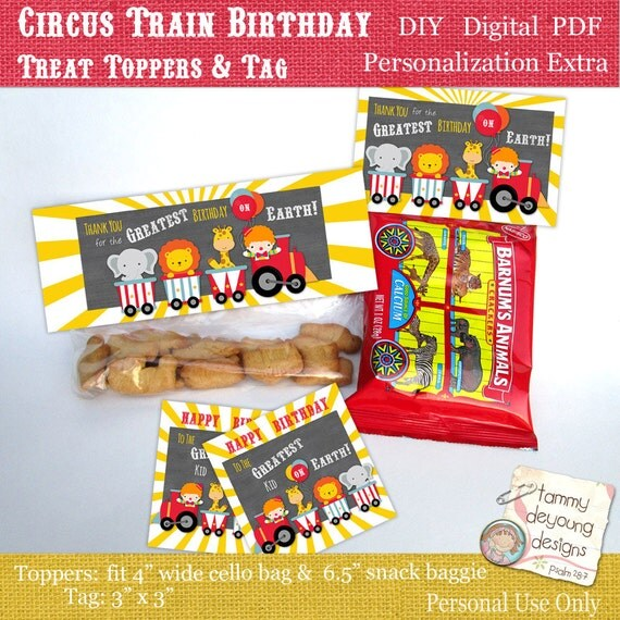 Circus Birthday Party Treat Bag Toppers & Tags Carnival