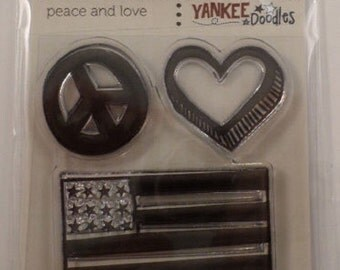 Clear Stamps Yankee Doodles Peace And Love Cling Rubber Stamp Set #Cwr-41827