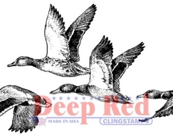 Deep Red Rubber Stamp Flock of Ducks Flying