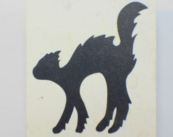 Happy Halloween Black Cat With Arched Back Silhouette Rubber Stamp