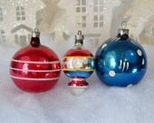 Vintage Christmas Ornaments Red White Blue Double Indent Lantern Striped Polka Dot Set of 3 Three 1950's