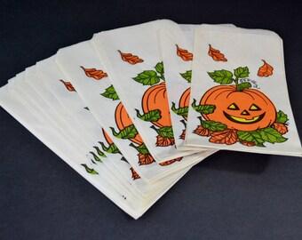 Paper Halloween Treat Bags Vintage Hallmark Ambassador White Orange Green Jack O Lantern Fall Leaves 21 Count Unused Party Favors Decoration
