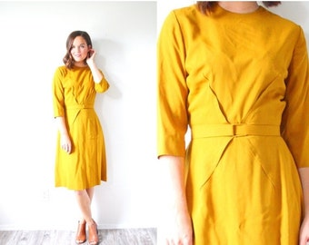 30% OFF out of town SALE Vintage mustard yellow mod two piece dress // modest dress // yellow tan dress // business dress // knee length max