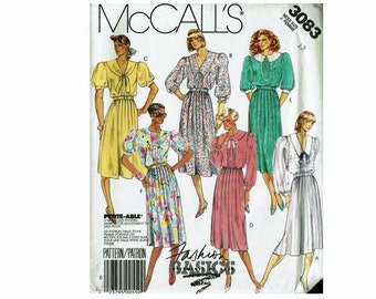 80s Dress Bow Tie and Belt Size 12 Bust 34 Uncut Sewing Pattern McCalls 3083 Fashion Basics Sleeve Collar and Neckline variations
