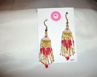 Red White n Gold Earrings  D